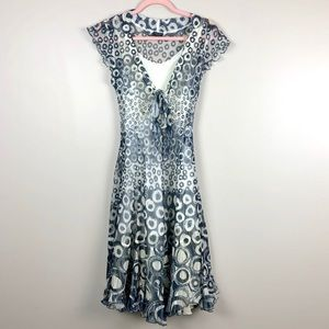 KOMAROV Blue And Ivory Circle Print Dress